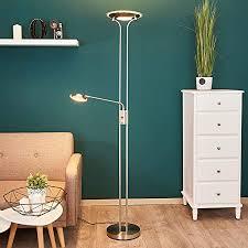 lindby led stehle dimmbar standleuchte glas metall nickel satiniert deckenfluter wohnzimmer esszimmer schlafzimmer inkl led leuchtmittel