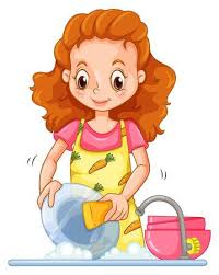 Beautiful Woman Washing Dishes On A White Background Illustration