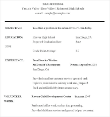 Grade 9 Student Resume Template Format Sample For High School Students