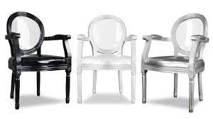 chaises fauteuil fauteuil médaillon avec dossier plexi transparent et accoudoirs