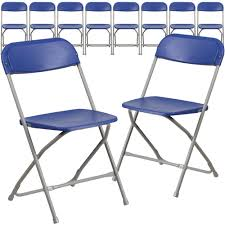 100 Event Folding Chair 10 Pk HERCULES Series 800 Lb Capacity Premium Blue Plastic