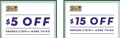Olive Garden Coupons $5 to $15 off To Go Orders