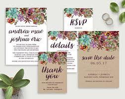 Printable Wedding Invitation Set Kraft Australian Native Invite Succulent