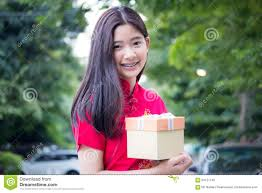 thai teen beautiful in chinese dress happy new year and give