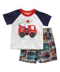 100 Fire Truck Applique CR Kids Heather Cream Appliqu Raglan Tee Plaid Shorts