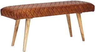 finebuy sitzbank echtleder massivholz bank 115x53x38 cm