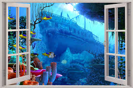 Wall Mural Decals Uk by Huge 3d Window Shipwreck Under Sea View Wall Stickers Film Art
