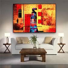 vintage afrikanische frauen abstrakte landschaft leinwand kunst malerei poster und drucke skandinavischen kunst wand bild für wohnzimmer