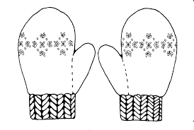 Black And White Mitten Clipart