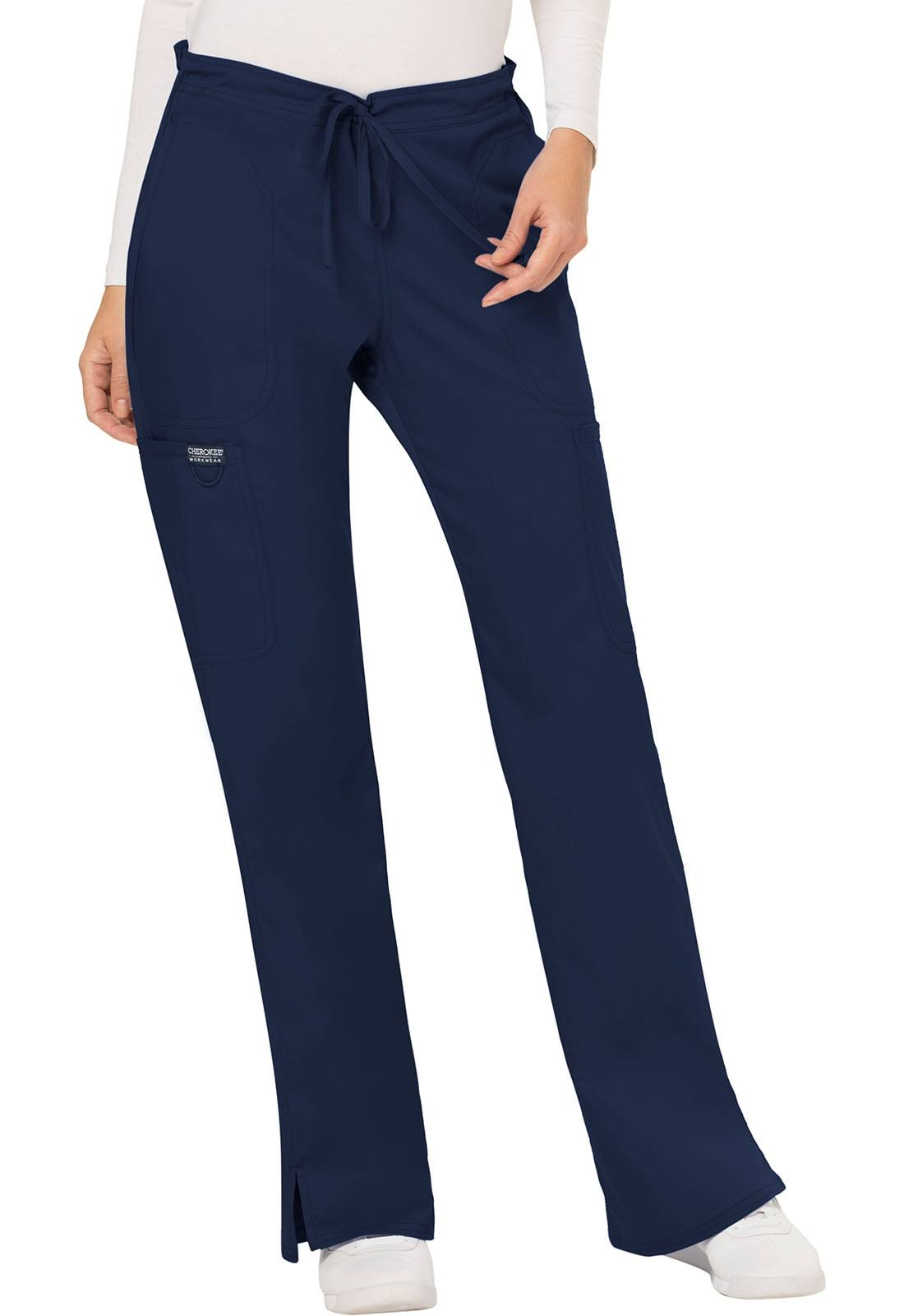 Cherokee Workwear Revolution Womens Mid Rise Moderate Flare Drawstring Pant - Navy (XL)