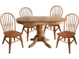 Laminate Pedestal Table With 4 Solid Oak Dining Chairs Set