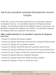 Top 8 Vice President Corporate Development Resume Samples In This File You Can Ref