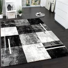details zu designer teppich modern mit konturenschnitt karo muster marmor optik grau creme