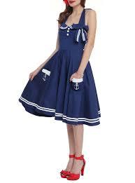 Motleys Pumpkin Patch by Hell Bunny Navy Motley Sailor Dress Topic