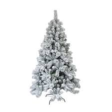 Snow Dusted 8 Green Pine Artificial Christmas Tree With Metal Stand