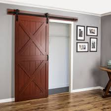 Erias Home Designs Continental MDF Engineered Wood 1 Panel Cherry Laminate Interior Barn Door