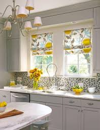 Kitchen Curtain Ideas With Blinds small kitchen update modern retro material for roman shades
