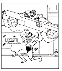 Superman Lifting A Car Coloring Page