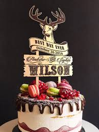 Wedding Cake Topper With Custom Engraved Names And Surname OLN12 Rustic Wood