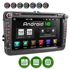 xomax xm 11ga 2din autoradio mit android 10 navi 8 zoll touchscreen monitor bluetooth dvd cd sd und usb passend für vw skoda seat