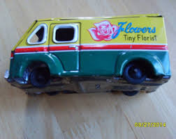 Vintage Toy Metal Truck Delivery Flower