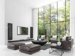modernes weißes wiedergabebild des wohnzimmers 3d das wohnzimmer hat eine hohe decke es gibt eine weiße wand böden und sind mit schwarzen möbeln