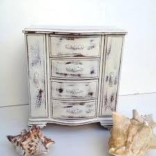 Rustic Jewelry Armoire Shabby Chic Box Music White By Red
