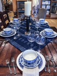 Ethnic Trending: Hmong Inspired Indigo Table Top @ Pottery Barn ... Ding Set Waterford Tablecloth Pottery Barn Tablecloths Fall And Napkins Autumn Table Runner Cloth Modern Home Best Comfort Room Decor Roombrown Leather Unique Runners Dresser Nner Kenaf Au Vintage Style Design 25 Unique Drop Cloth Tablecloth Ideas On Pinterest Kids Barn Kids And Christmas