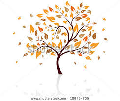 Autumn Tree With Falling Leaves on White Background Elegant Design with Text Space and Ideal