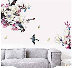 hallobo wandtattoo magnolie vogel blumen magnolia wandaufkleber wandsticker wall sticker wohnzimmer schlafzimmer deko
