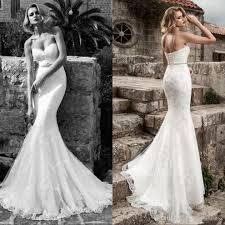 2017 lace mermaid wedding dresses strapless applique beaded