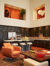 Art Niche Decorating Ideas Kitchen Contemporary With Wood Floors Dark Cabinets Bar Stools