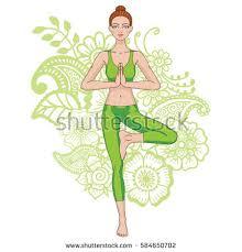 Women Silhouette On Paisley Mehndi Ormanent Background Yoga Tree Pose Vector Illustration