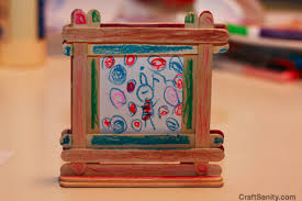 CraftSanity Kids Fathers Day Crafts Video Tutorial Recycled Magnets Art Embellished Cookies And Popsicle Stick Frames