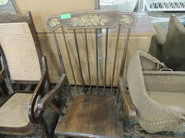 VINTAGE WOODEN HAND PAINTED DETAIL ROCKING CHAIR