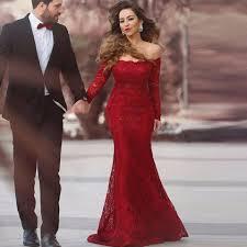 burgundy long elegant evening dress with long sleeve off shoulder