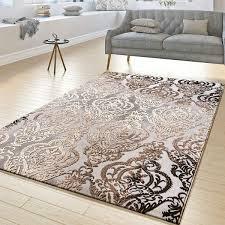 t t design teppich wohnzimmer abstrakt ornament muster kurzflor teppich meliert grau beige größe 160x230 cm
