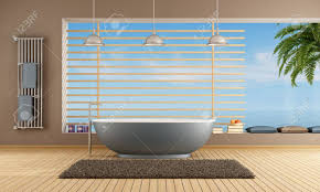 moderne badezimmer mit blauen badewanne gegen große fenster rendering