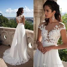 Sexy Bridal Summer Dresses 2017 Illusion Bodice Beach Wedding Dress Cap Sleeve Country Lace Appliques Buttons Back Split
