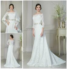 discount modest 2015 lace a line wedding dresses illusion off