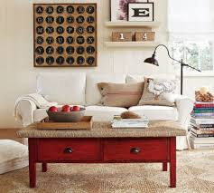 Rustic Living Room Design With Simple Decoration And Sofa Wingback White Fabric Covers Plus Old Vintage Red Wooden Coffee Table Drawer