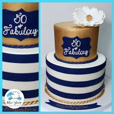Navy and Gold 50 and Fabulous Birthday Cake
