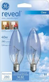 ge lighting 48701 40 watt reveal blunt tip b10 2 pack
