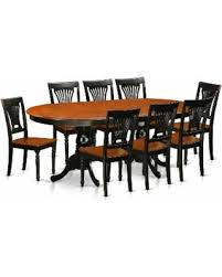 Traditional Black Finish Solid Rubberwood Nine Piece Dining Set With Plainville Table And Eight Chairs