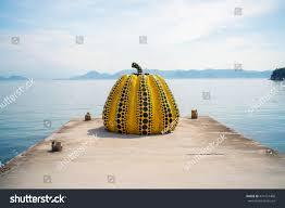 Yayoi Kusama Pumpkin Sculpture by Naoshima Japan May 13 Yayoi Kusamas Stock Photo 474151468
