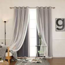 Sheer Curtains For Traverse Rods by Mix And Match Gathered Tulle Sheer And Blackout Silver Grommet 4