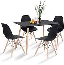 hj wedoo essgruppe mit 4 esszimmerstühle für esszimmer küche wohnzimmer schwarz esstisch und stühle