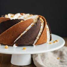 Rocky Road Bundt Cake Alternating swirls of peanut butter and chocolate cake with a marshmallow