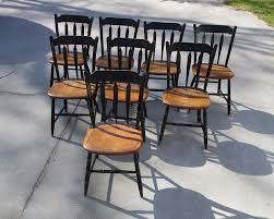 8 Hitchcock Black Paint Plank Bottom Chairs Stenciled Maple ...
