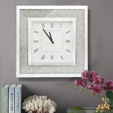 Image Is Loading Contemporary Glass Sparkling Wall Clocks W Silver Glitter